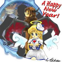 TW自キャライラスト年賀状用『天使と悪魔(月柱&ハルフェ(元キャラ:ティチエル))』